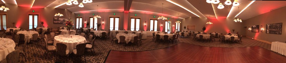 Uplighting provided by Beautiful Day DJs at Hazeltine National Golf Club.