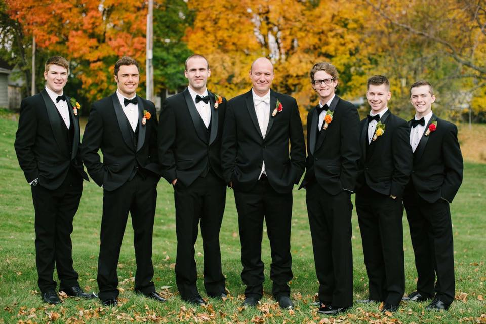 Black Tuxedos with matching black bow ties