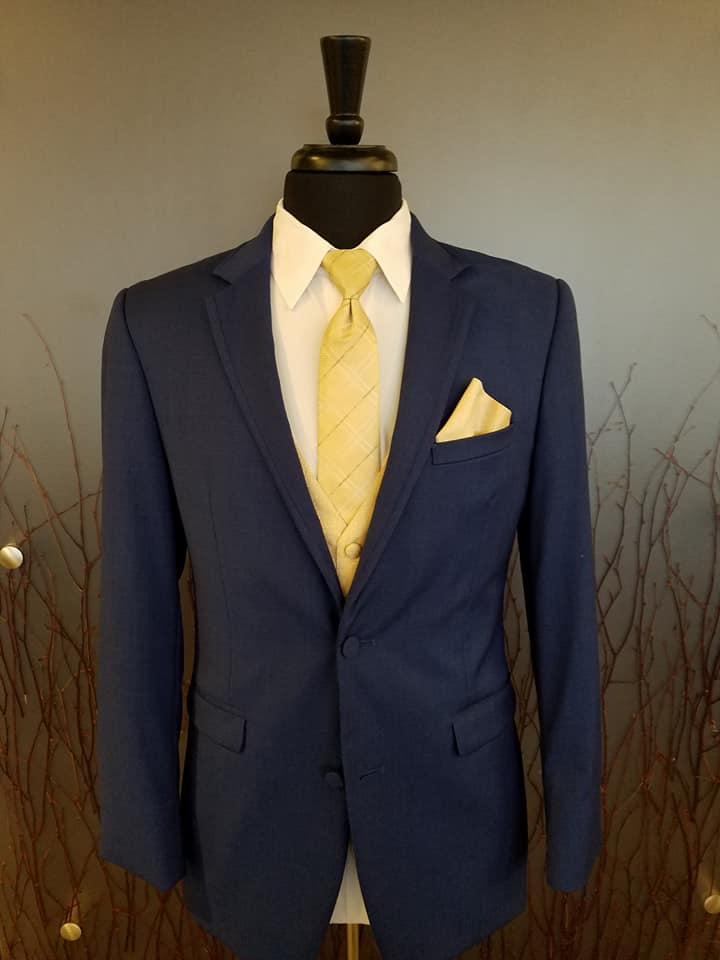 Navy Tuxedo with Yellow Plaid Tie and Vest