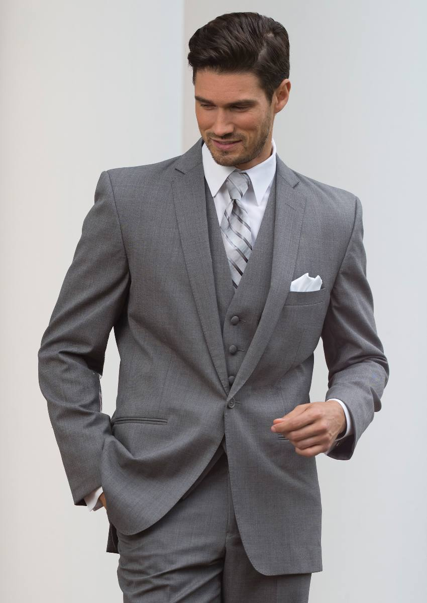 Grey Tuxedo with matching Vest and Silver Striped tie