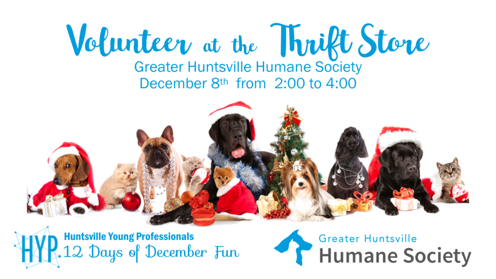 Day 5: Volunteer at the Greater Huntsville Humane Society Thrift Shop  on December 8th from 2:00 PM to 4:00 PM. GHHS runs a thrift store to help fund its animal rescue and adoption mission here in Huntsville. We will be organizing, pricing and displaying donations that have not been yet made it through to the front of the store. We will definitely have the chance to hang out with some cute cats and dogs as well!