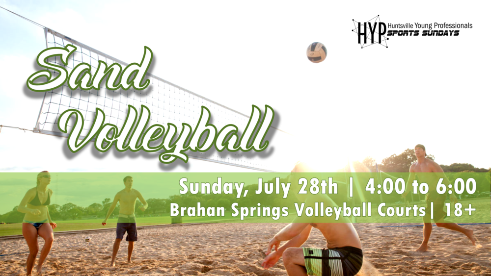 Bump, set, and Spike your day with sport 7 sand volleyball. Jon us at the sand courts at Brahan Spring park on July 28th from 4:00 to 6:00 for a fun game of Volleyball. Be sure to join the Facebook  Event  to stay up to date.