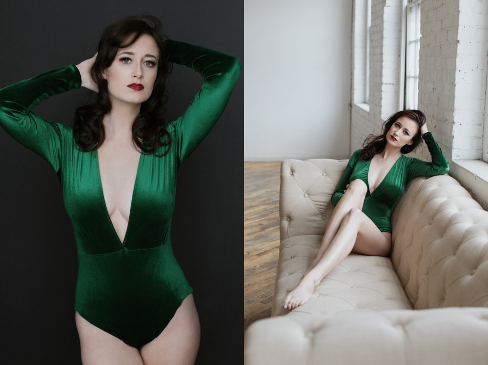 Hair and Makeup by Jennifer Bartlett  |  Green Body Suit by Iconoclasp
