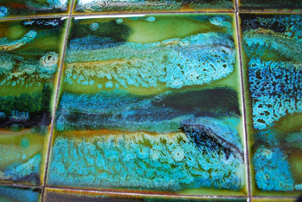 Tile table turquoise details Belgium 60's