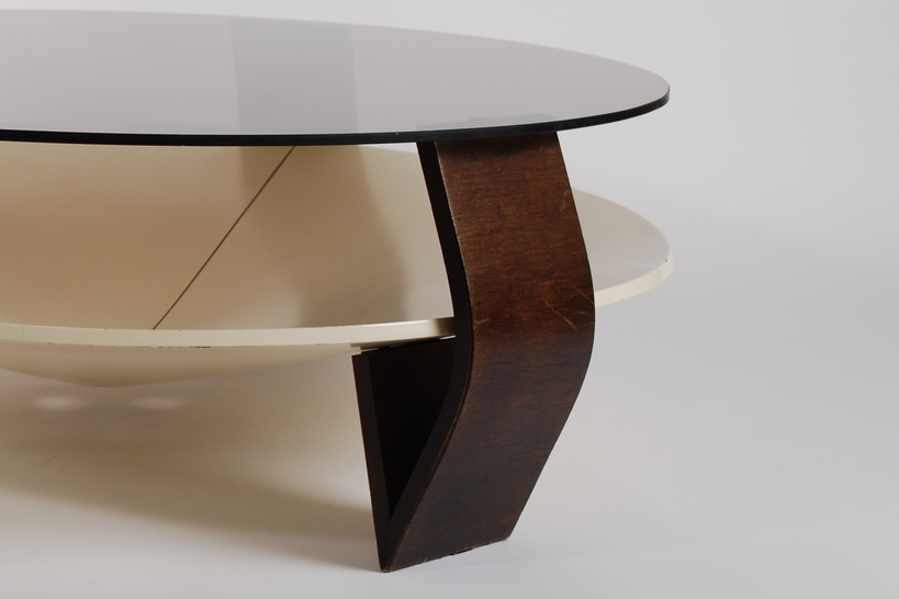 Coffee table smoked glass and wenge wood 60's