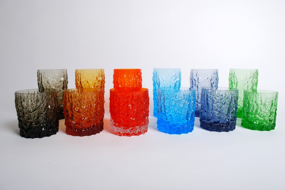 Whitefriars set colorful glass 'Textured Bark' by Geoffrey Baxter 60's