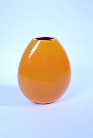 Large Hand Made Orange Glass Vase Xl Flux Vintage