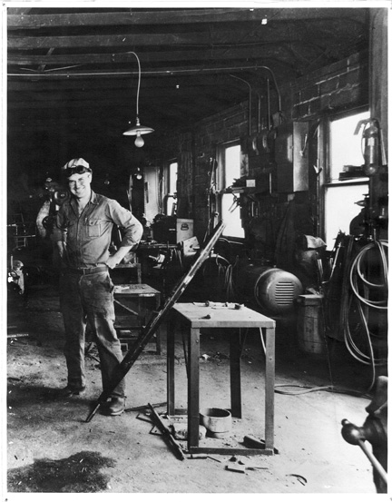 Among other things—machinist, dancer, millwright, boss, husband, father, farmer, mechanic, carpenter, lover of fast cars, soldier—my dad was a welder. I spent hours at his side when I was little, sorting nuts and bolts and wandering about the welding shop, watching him pound metal. It smelled of oil, burnt iron, fire, grime, men sweating, dust and grain. A dirty bathroom, one bare bulb dimly showing the grimy toilet, a blackened porcelain sink, cold water, Lava soap. Once, even though I knew better and even after being warned not to look, I burned my eyes. From watching the beautiful fireworks flowing from his stinger—the welding rod—it was like sandpaper on my eyes that night, still blurry the next day.