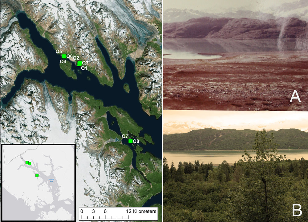 Plots in Glacier Bay and some further landscape comparisons. Both are taken from near Q2, looking west.  Shots are from the identical location.  A was taken in 1941 (I believe), B in 2016.