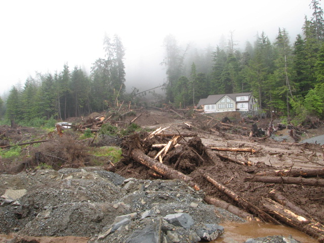 Kramer landslide in Sitka, 2015.  It killed three people.  Photo KCAW.