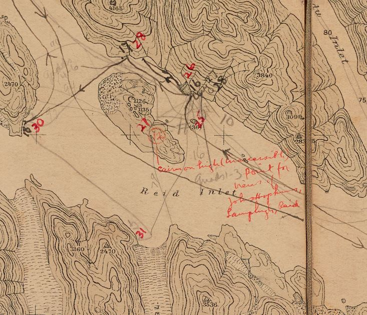 Close-up of original 1916 map used by William Cooper for his pioneering work in Glacier Bay (updated in the 1920's with new numbers and datapoints).