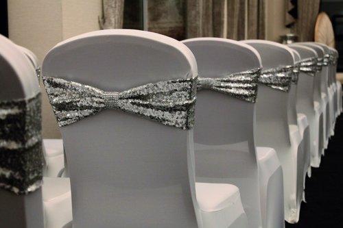 Wedding inspiration glitter chair sash.jpg