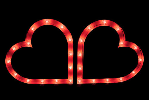 Love Hearts - Our 3ft red LED twin hearts are the perfect symbol of love. These luxury metal framed carnival lights set the mood at any event and perfect for valentines!Hire for only £100.