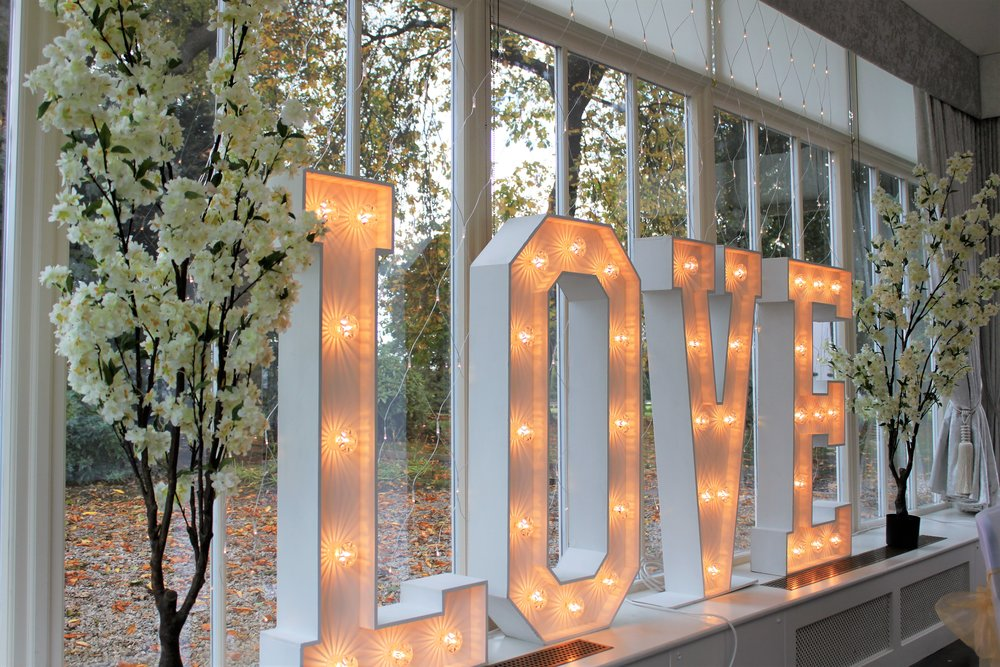 White LOVE - Our traditional white LED LOVE letters are still a firm favourite with our customers.  We can also supply a 4ft heart that comes with red lights for that something a bit different.Hire for only £150.