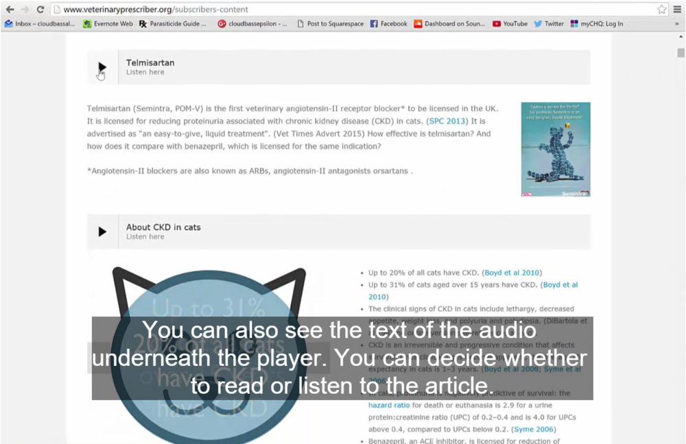 A screenshot of the new content from Veterinary Prescriber, showing audio players, text and slideshows. Click the image to see a tutorial demonstrating how the new content works.