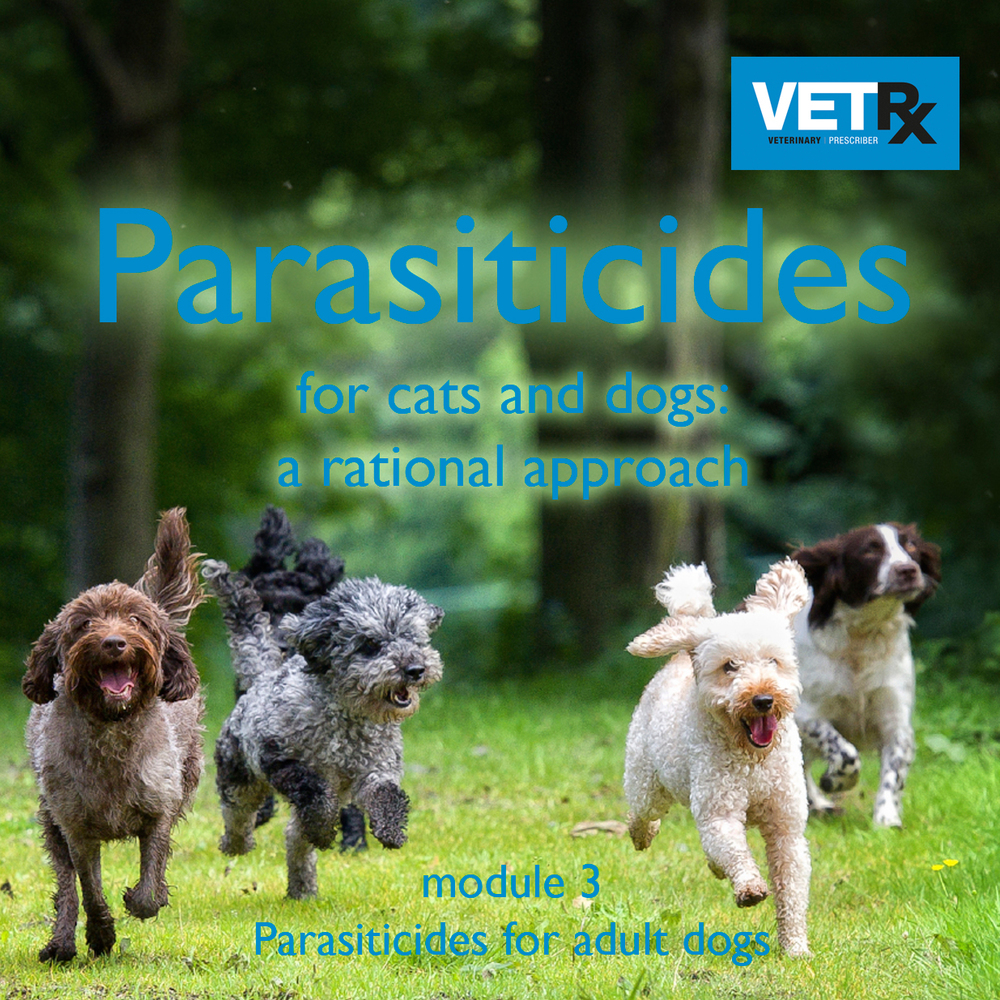 Why we have produced this module   Control of parasites in dogs is a key responsibility for veterinary professionals. The area is complicated because dogs need tailored therapy, there is an overwhelmingly large choice of parasiticide products on the market and very intense promotional activity by drug companies. The aim of this module is to help veterinary professionals use parasiticides rationally. It covers the five main parasites that affect dogs in the UK and the parasiticide drugs used to treat them and outlines the different approaches to parasite control. The module will help readers become familiar with the full range of parasiticide products through integration of the comprehensive Parasiticide Guide.