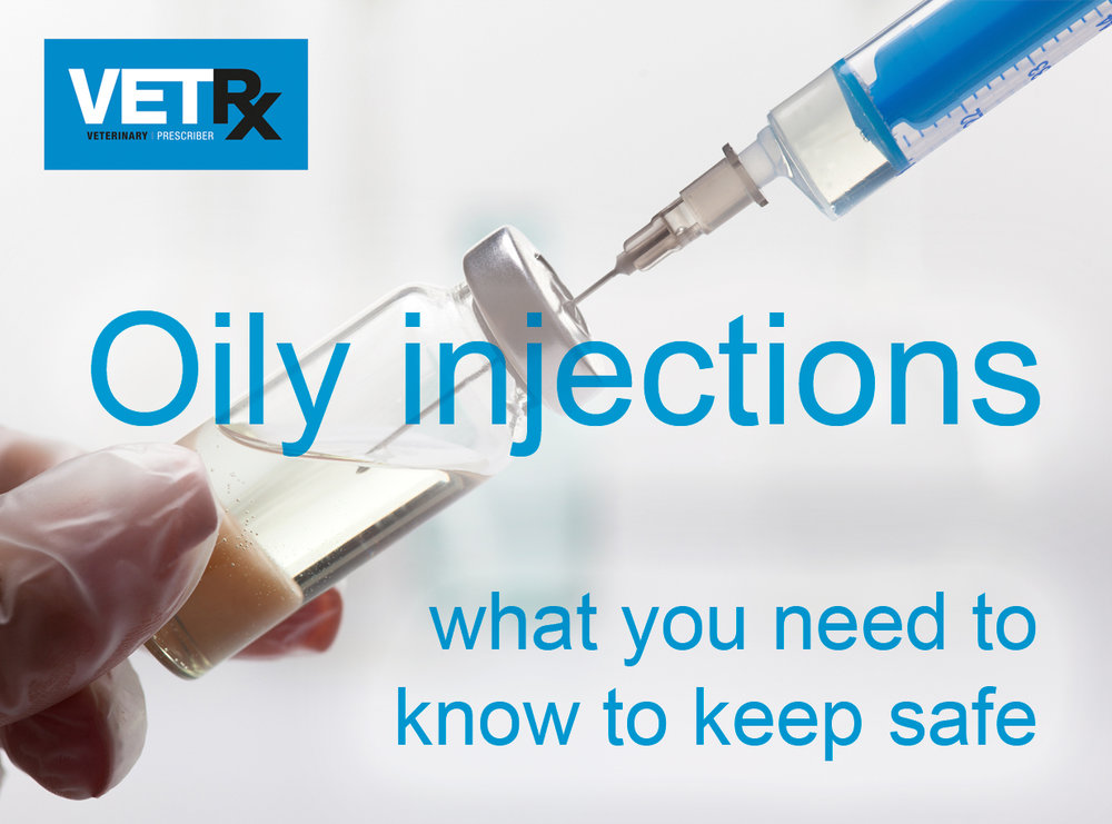 Syringe drawing an oily liquid from a phial for injection