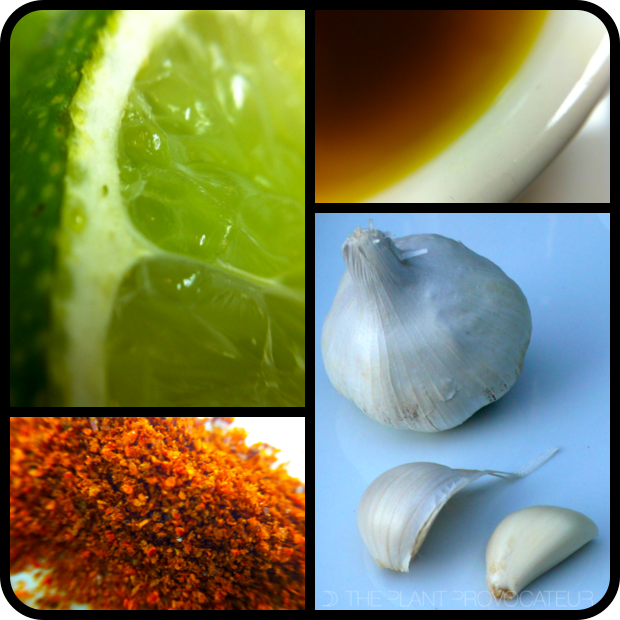 |Clockwise from L to R - Fresh Lime, Flaxseed Oil, Garlic, and Cayenne Pepper|