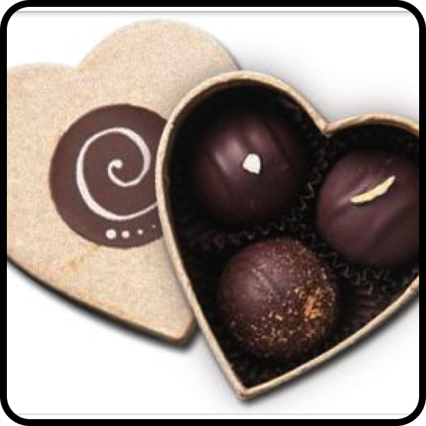 |Confectionally Yours Heart Shaped Box with Organic Chocolate Truffles|