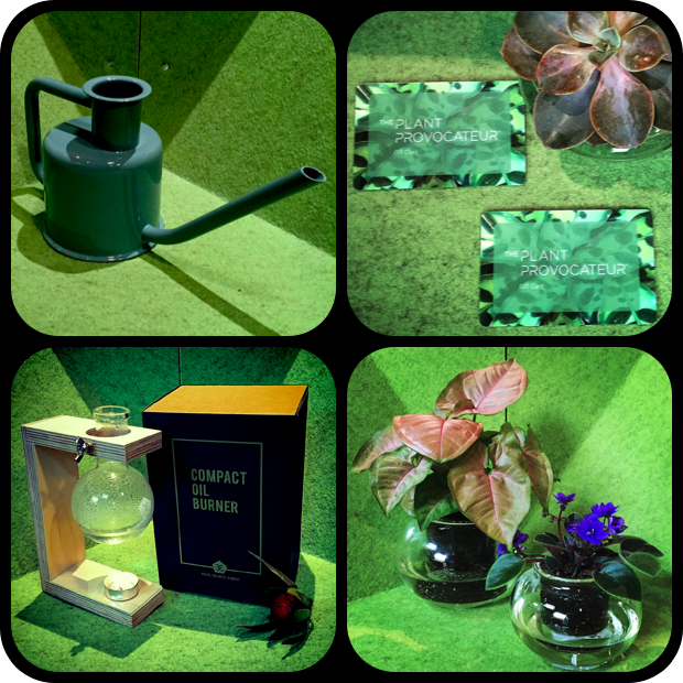 From Top, Left to Right...X3 Watering Can, The Plant Provocateur Gift Card, From Bottom, Left to Right, Page Thirty Three Compact Oil Burner, and Cup O' Flora glass gardens.