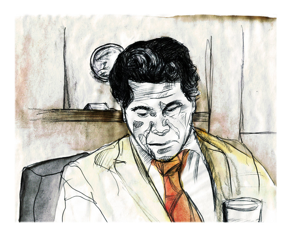 Oscar Zeta Accosta - courtroom sketch