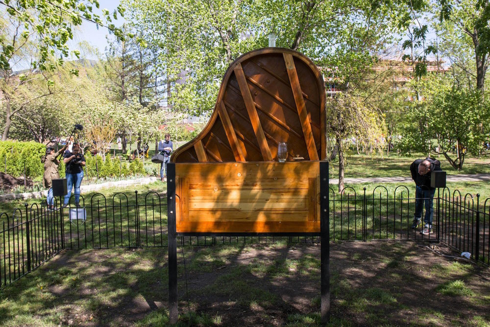 Fugue in B Flat   , 2016 is a   grand piano modified into a beehive. The sound of the bees interacting with the piano strings is amplified via live feed from a contact microphone on the piano soundboard.      video link      press link