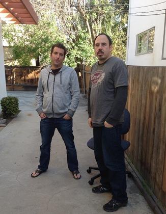 Shane and Pauly outside the studio, February 2014.