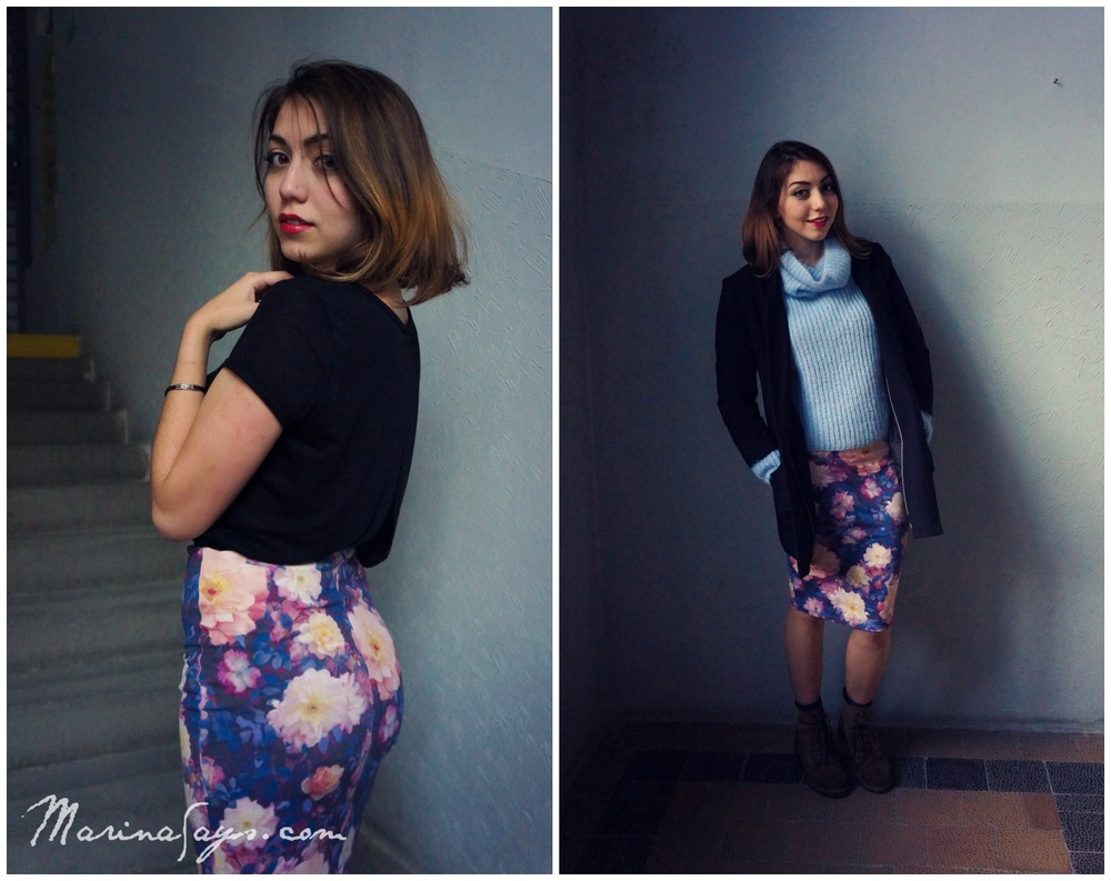floral skirt and blazer