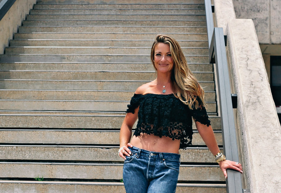 Black lace off the shoulder crop top with boyfriend jeans. / www.MarinaSays.com