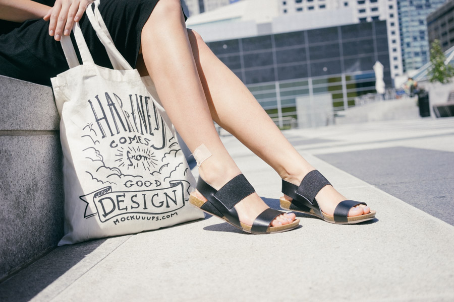 Black sandals from Target and a custom made canvas bag by mockuuups.com / www.MarinaSays.com