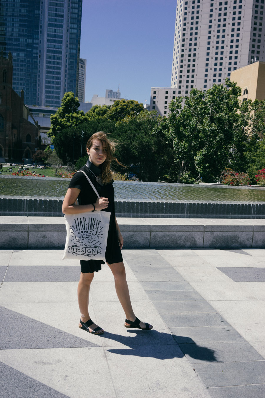All black outfit featuring Neat Collar and designer canvas bag by Mockuuups / www.MarinaSays.com