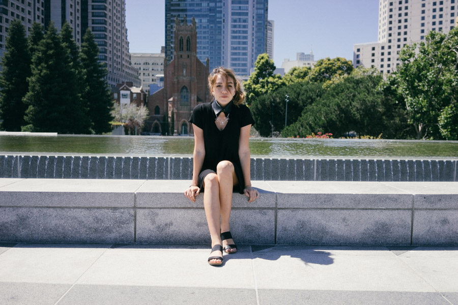 Chilling at Yerba Buena, SF with my new sandals and Neat Collar / www.MarinaSays.com