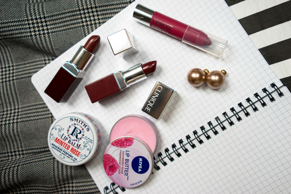 Lipstick inspiration for fall - amazing berry shades by Clinique and smooth balm by Nivea. More tips for autumn beauty at www.MarinaSays.com