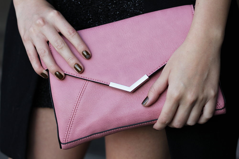 Pink pleather envelope handbag by PRomod and other fashion studies by www.MARINASAYS.com