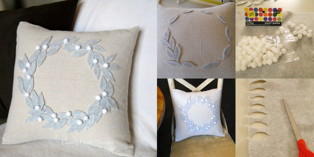 Holiday wreath pillowcase DIY tutorial & other holiday decor projects at www.MarinaSays.com