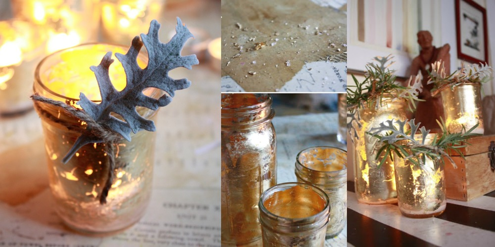 Make your own golden glowing candle jars and vases as holiday decorations. They look luxurious but don't cost a thing. This and more of the most beautiful holiday decor tutorials at www.MarinaSays.com