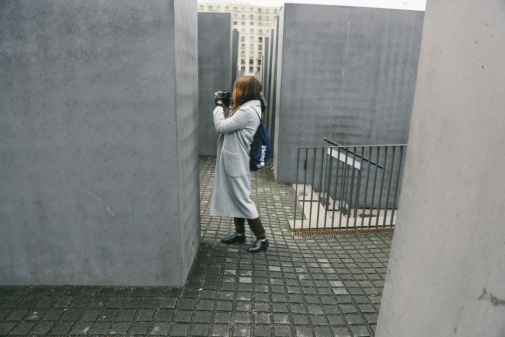 Taking photos at the Memorial for the Murdered Jews of Europe in Berlin, Germany. More great photos and footage of Berlin at www.MarinaSays.com