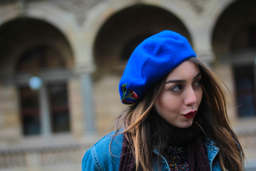 Vibrant blue beret, made from 100% wool. Find out more at www.MarinaSays.com- a blog about personal style, life, and beauty for the twenty something year old