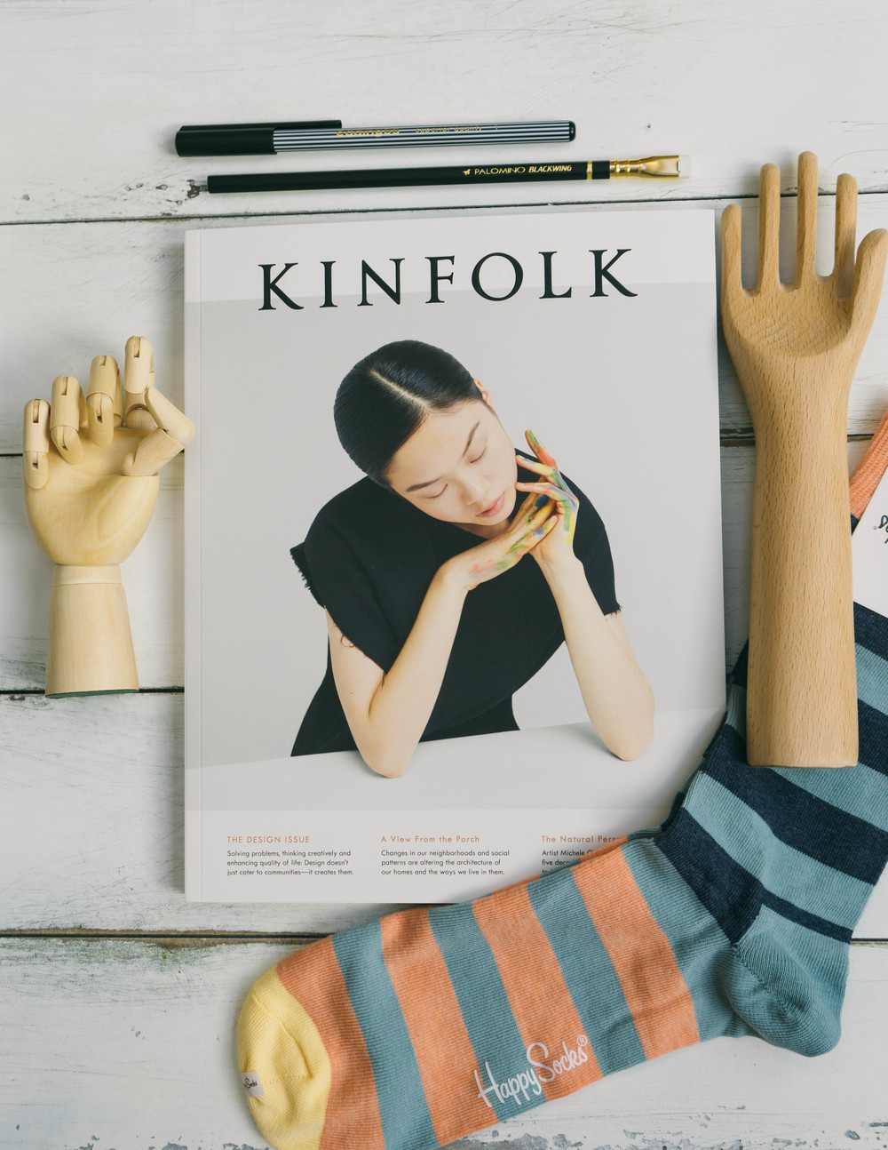 Palomino Blackwing pencil, Kinfolk quarterly magazine - the design issue, Happy socks, and wooden hands: the best from under the tree at www.MarinaSays.com