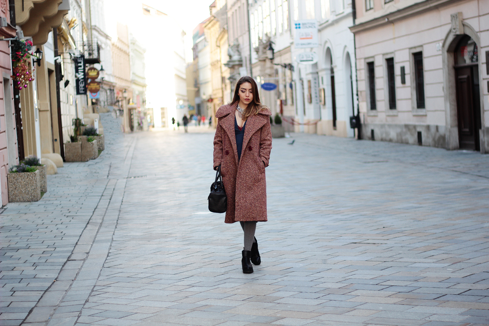 Pink-Wine tweed coat by Jenny Jeshko - see the full fashion review at www.MarinaSays.com