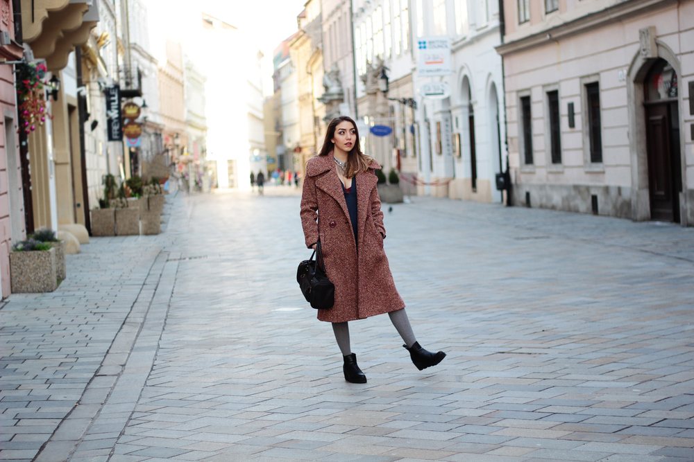 Handmade tweed long coat by Jenny Jeshko - worn by style blogger www.MarinaSays.com