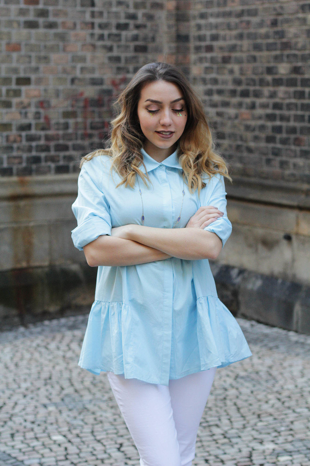 Spring inspired look by MarinaSays, featuring a sky blue button up by Romwe. See all the details at www.MARINASAYS.com