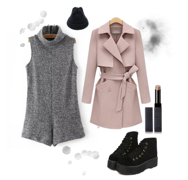 Gray romper and pink trenchcoat with platform booties... some flirty SheIn inspiration by www.MARINASAYS.com