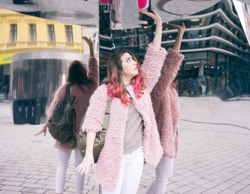 Fluffy pink jacket and pink hair with  www.MARINASAYS.com (@marinasays)