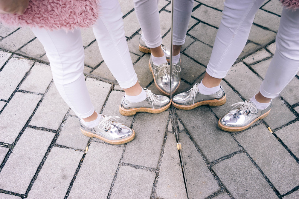 Super trendy metallic shoes in reflective silver. More fashion insp  www.MARINASAYS.com (@marinasays)