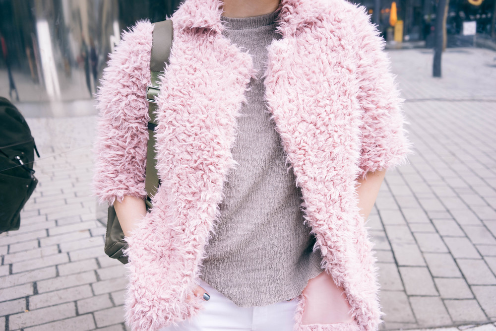 fluffy pink jacket and neutral outfit. More fashion and style at  www.MARINASAYS.com (@marinasays)