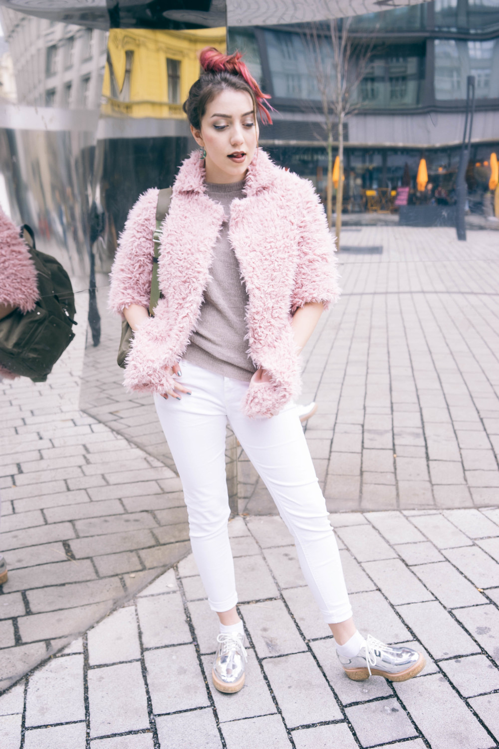 How to wear pink everyday - with a basic white outfit and awesome silver shoes. More fashion and beauty tips at  www.MARINASAYS.com (@marinasays)