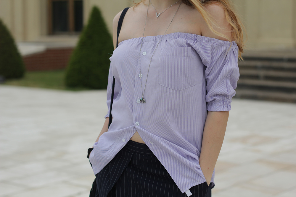 Off the shoulder top with pinstripe skort, as seen on www.MARINASAYS.com
