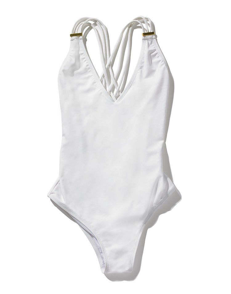 White one piece bathing suit with criss cross back