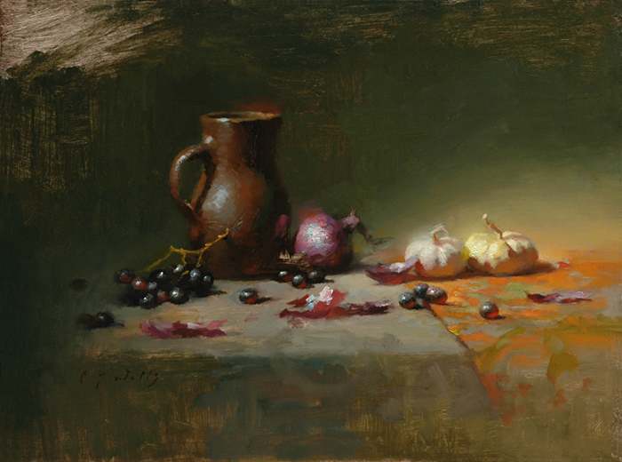 Brown Jug Purple Onion    12 x 16    oil on panel